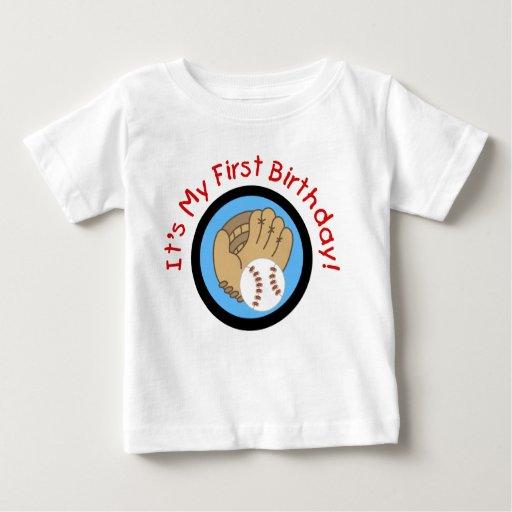 Baseball und Handschuh-1. Geburtstags-T-Shirts und Tshirts