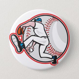 Baseball-Werfer-Knopf Runder Button 7,6 Cm