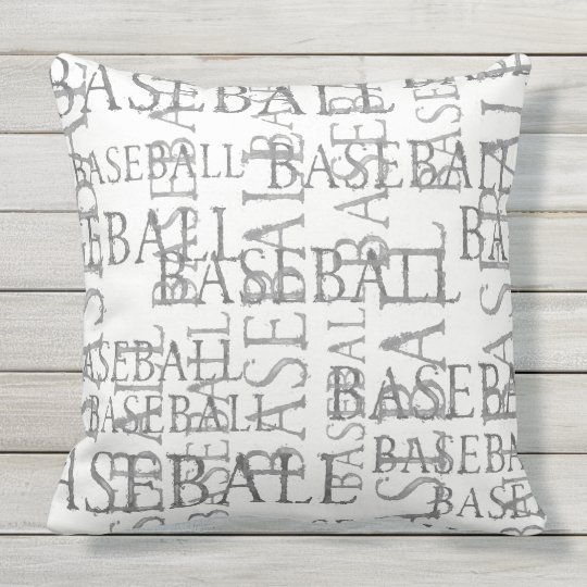 baseball wort kunst kissen im freien kissen f r drau en zazzle. Black Bedroom Furniture Sets. Home Design Ideas