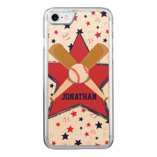 Baseballschläger-Ball und Sterne Carved iPhone 8/7 Hülle