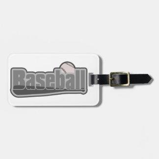 Baseballschläger-und Ball-Grau Kofferanhänger