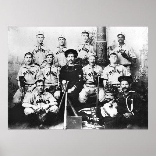 Baseballteam USSs Maine, 1898 Plakatdruck