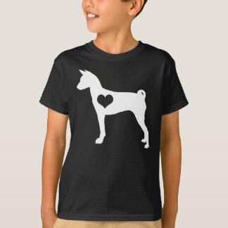 Basenji Herz scherzt dunklen T - Shirt