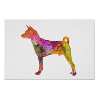 Basenji in Watercolor 2 Poster