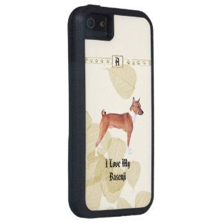 Basenji mit Monogramm auf TAN-Blätter iPhone 5 Hülle