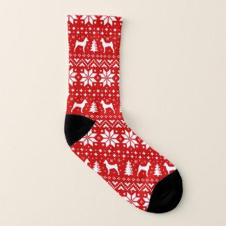 Basenji Silhouette-rotes Weihnachtsmuster Socken