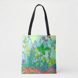 Basilikum-Kräutergarten-Aquarell Tasche