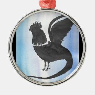 Basilisk auf Blau Silbernes Ornament