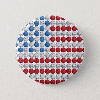 Basketball-amerikanische Flagge Runder Button 5,1 Cm