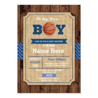 Basketball-Babyparty-oh blaues Holz lädt ein 12,7 X 17,8 Cm Einladungskarte