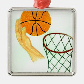 Basketball-Ball-Skizze Quadratisches Silberfarbenes Ornament