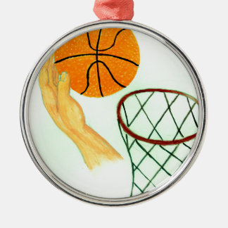 Basketball-Ball-Skizze Rundes Silberfarbenes Ornament