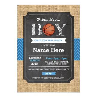 Basketball-blauer Jungen-Babyparty-Sport lädt ein Karte