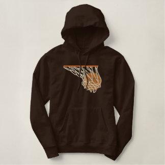 Basketball im Netz Bestickter Hoodie