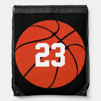 Basketball-lederne Gewohnheit zeichnen Turnbeutel