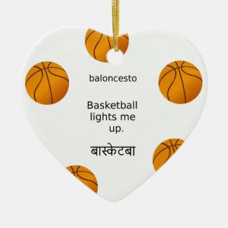 Basketball leuchtet mir mit Spanischen und Hindi Keramik Ornament