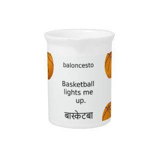 Basketball leuchtet mir mit Spanischen und Hindi Krug
