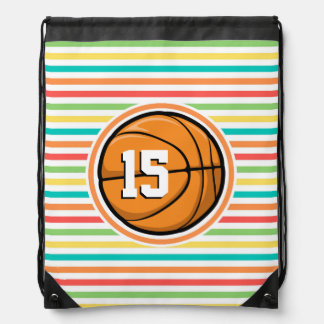 Basketball mit Zahl; Helle Regenbogen-Streifen Turnbeutel