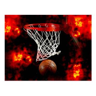 Basketball-Netz, Ball u. Flammen Postkarte