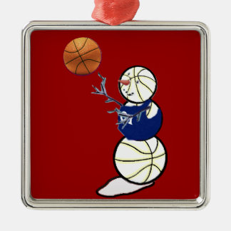 Basketball-Schneemann Silbernes Ornament