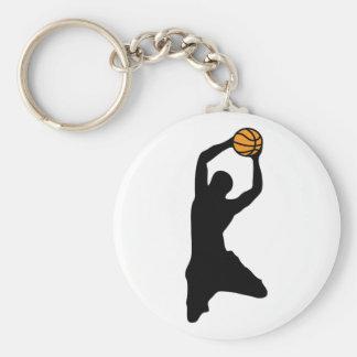 Basketball-Silhouette Standard Runder Schlüsselanhänger