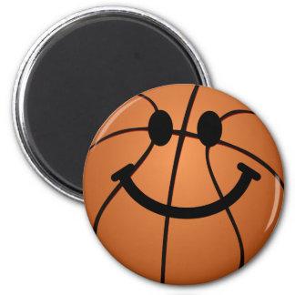 Basketball-Smiley Runder Magnet 5,7 Cm