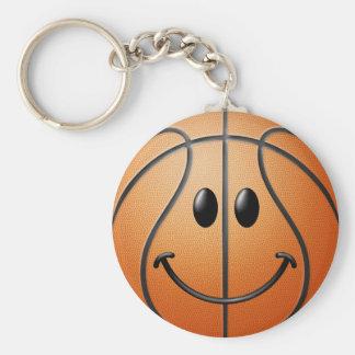 Basketball-Smiley Standard Runder Schlüsselanhänger