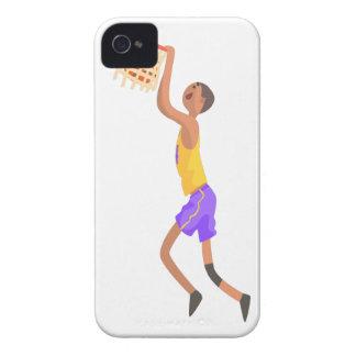 Basketball-Spieler, der am Ziel-Aktions-Aufkleber iPhone 4 Hüllen