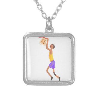 Basketball-Spieler, der am Ziel-Aktions-Aufkleber Versilberte Kette