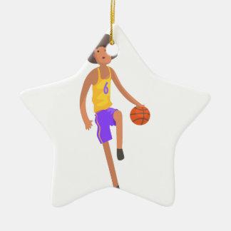 Basketball-Spieler, der mit Ball-Aktions-Aufkleber Keramik Ornament