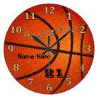 Basketball-Uhren mit Name und Jersey-ZAHL Große Wanduhr