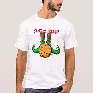 Basketball-Weihnachtself-Füße mit Klingel Bell T-Shirt