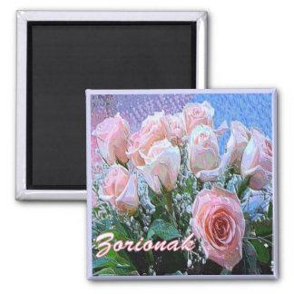 Baskisches Geburtstags-Rosa-weißer Quadratischer Magnet