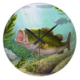 Bass-Fische Große Wanduhr