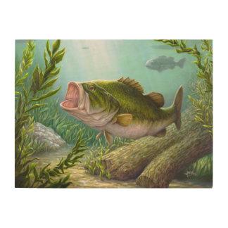 Bass-Fische Holzdruck