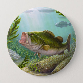 Bass-Fische Runder Button 10,2 Cm
