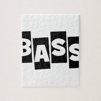 Bass-Gitarrenschwarzes klopfen heraus Textentwurf Puzzle