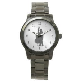 Bass-Spieler-Musiker-Schwarz-Zahlen Armbanduhr