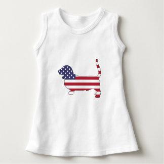 """Basset """"amerikanische Flagge """" Kleid"""
