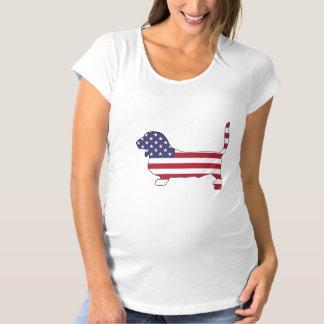 """Basset """"amerikanische Flagge """" Umstands-T-Shirt"""