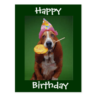 Basset Hound-Geburtstags-Lutscher Postkarte