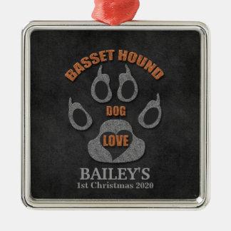 Basset Hound-Hundezucht-Weihnachtsverzierung Silbernes Ornament
