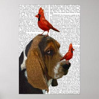 Basset Hound und Vögel Poster