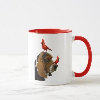 Basset Hound und Vögel Tasse