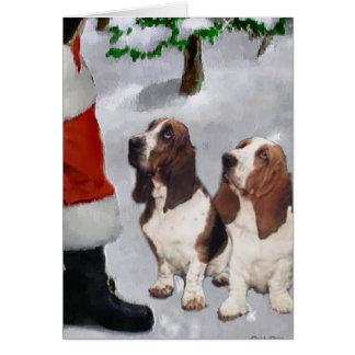 Basset Hound-Weihnachtsgeschenke Karte