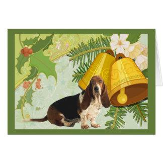 Basset Hound-Weihnachtskarte Bell Karte