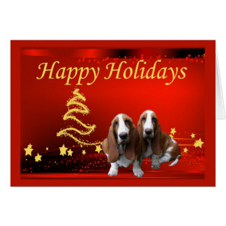 Basset Hound-Weihnachtskarten-Sterne Karte