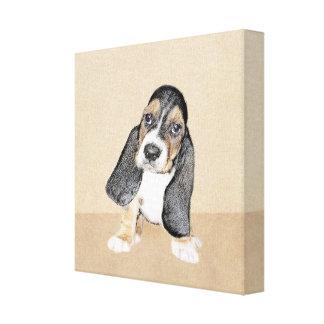 Basset Hound-Welpen-Malerei - ursprüngliche Leinwanddruck
