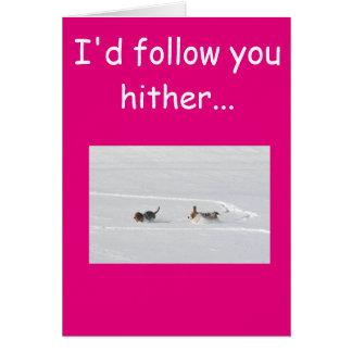 Basset im Schnee auf Valentinstagkarte Karte