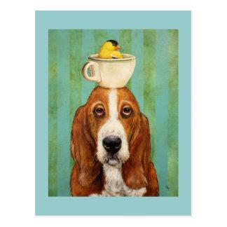 Basset mit Goldfinch in der Teacuppostkarte Postkarte